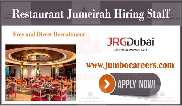 Latest Hotel job openings in Gulf countries, JRG Dubai Jumeirah Group Restaurant Jobs