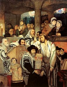The Jews pray in the Synagogue on Yom Kippur