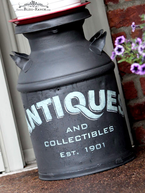 Antique Painted Stenciled Milk Cans Bliss-Ranch.com