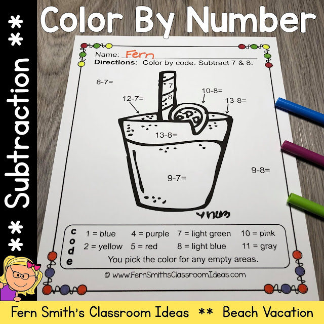 Click Here for the Color By Number Subtraction Beach Vacation Fun Printable Worksheets Resource
