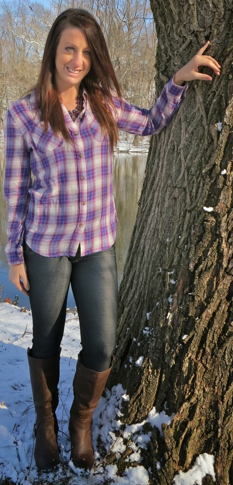 purple plaid shirt