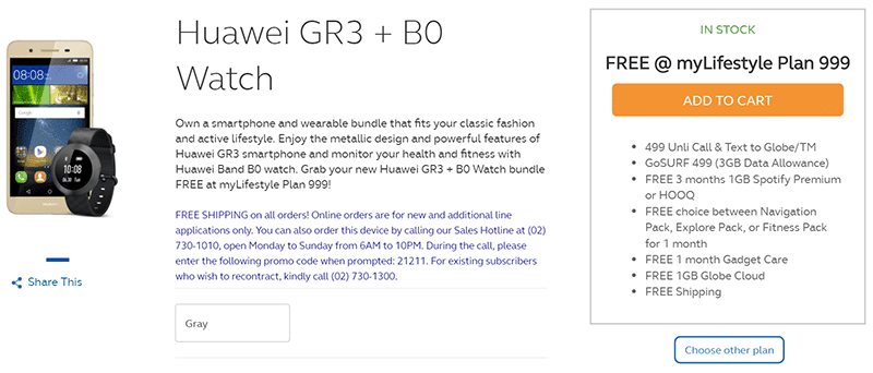 Huawei GR3 With Band B0 FREE At Globe MyLifestyle Plan 999!