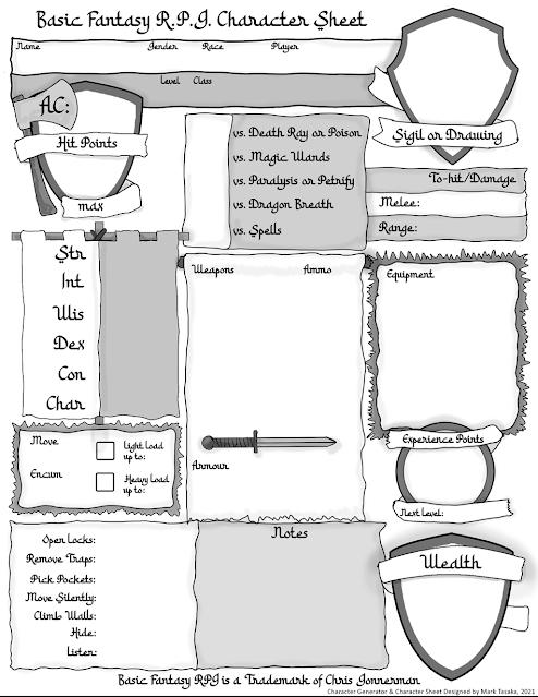 Screenshot Thief Character Generator Version 2