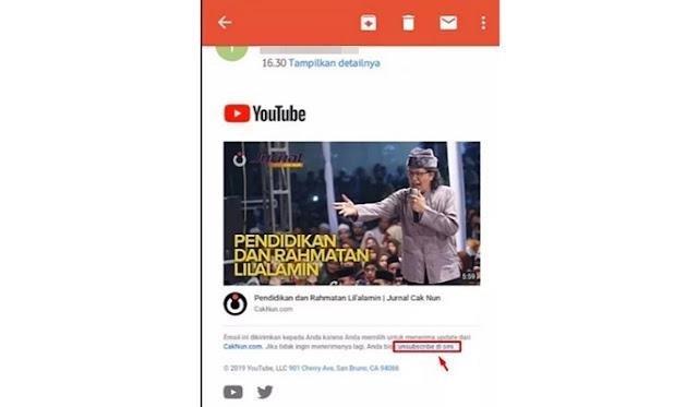 cara nonaktifkan notifikasi email youtube