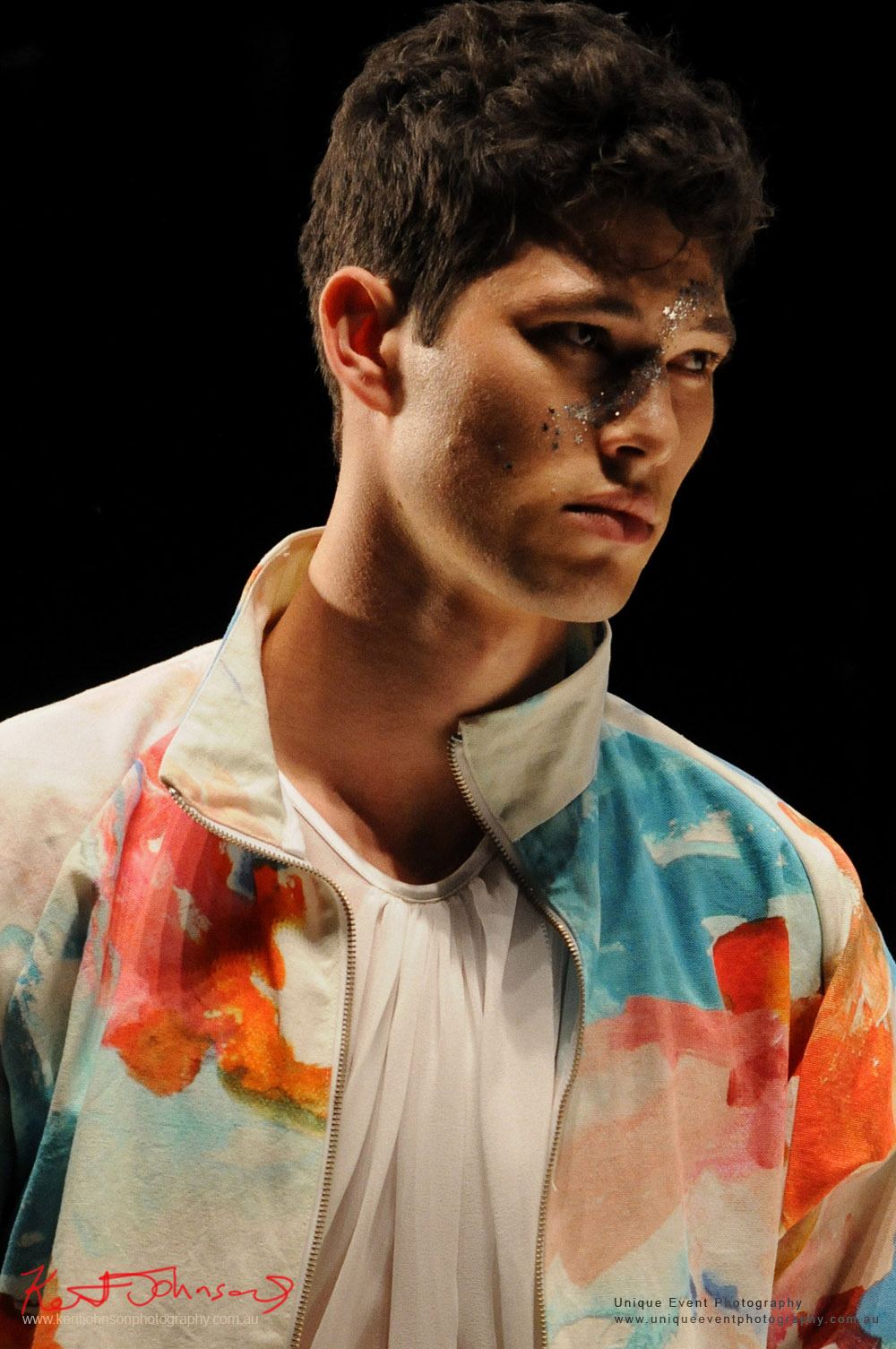 Menswear, silk shirt and watercolour jacket, DE LA MOTTE; Anne De La Motte - Designers from Raffles International Showcase 2016 - MBFWA  Photographed by Kent Johnson.