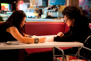 Cheyenne (played by Sean Penn) with his teenage Goth friend Mary (played by Eve Hewson) in This Must Be the Place (2011), Directed by  in Paolo Sorrentino
