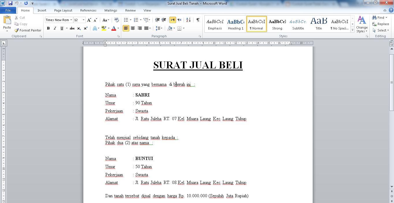 Contoh Surat Jual Beli Tanah Simple Materai 6000 Doc
