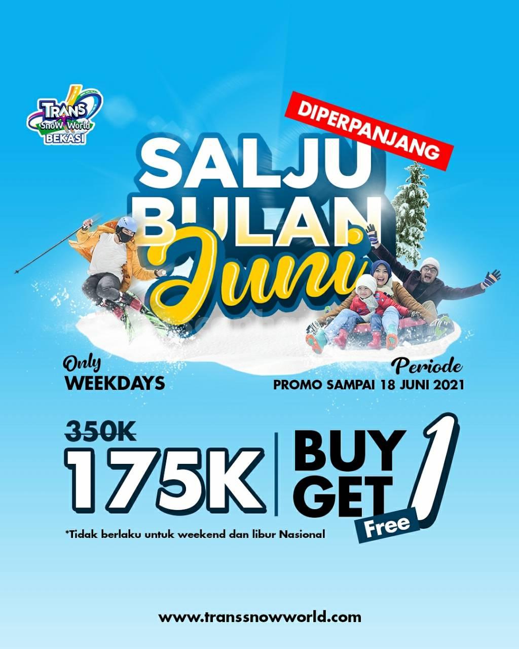 Promo Trans Snow World Bekasi Buy 1 Get 1 Free! Salju Bulan Juni 2021