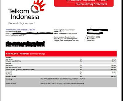 Rincian tagihan dari PT Telkom bulan Maret 2019.