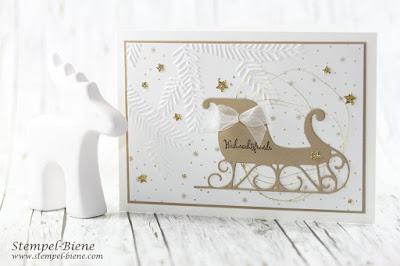Weihnachtskarte; Stampinup Schlittenkarte; Prägeform Tannenzweig; Tannenzauber; Weihnachtskarte Vintage; Schlichte einfache Weihnachtskarte, Stempel-Biene