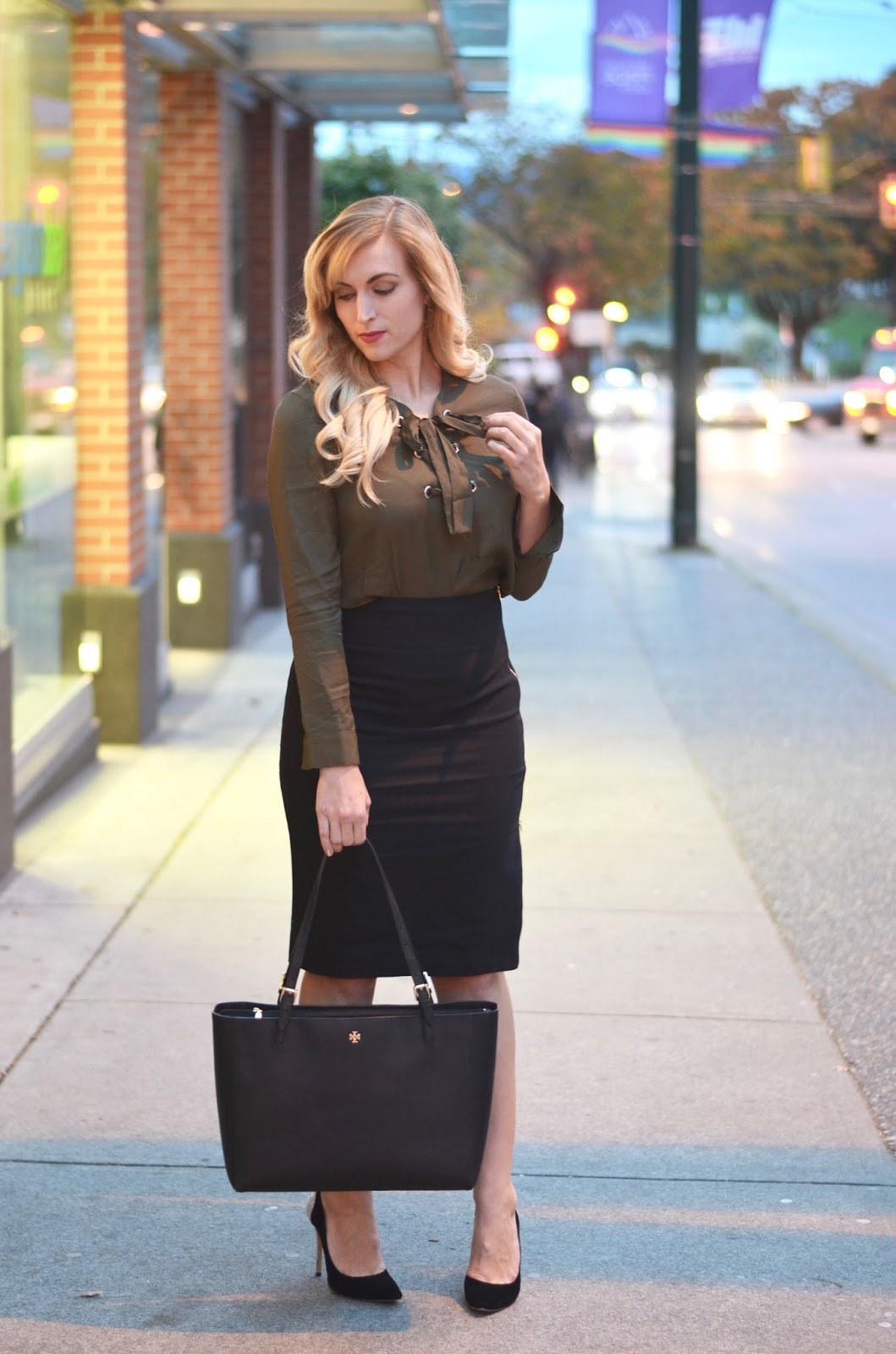 lace up blouse and pencil skirt look