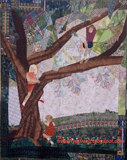 An original art quilt of three children climbing the live oak in their yard.