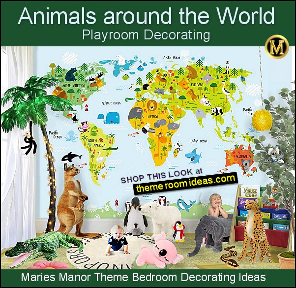 animals around the world wall mural plush animal toys playroom decor
