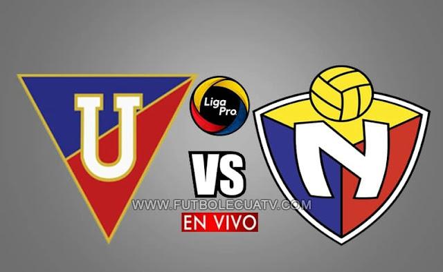 Liga de Quito recibe a El Nacional en vivo a partir de las 20h30 hora local, por la jornada tres del campeonato ecuatoriano, siendo emitido por GolTV Ecuador a efectuarse en el Estadio Rodrigo Paz Delgado. Con arbitraje principal de Augusto Aragón.