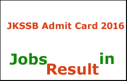 JKSSB Admit Card 2016