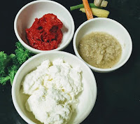 Hung curd, ginger garlic paste and Kashmiri chilly paste for marinating chicken for butter chicken recipe