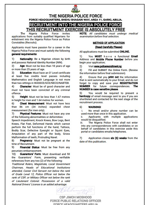 Nigerian Police Begins 2018 Massive Recruitment