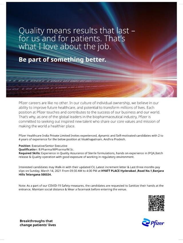 Pfizer Pharma | Walk-In interview for QA on 14th Mar 2021