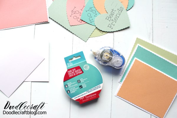 Use the Cricut Maker and Wavy Cut Blade to make conversation hearts inspired Valentine's day cards