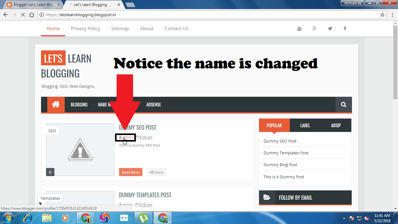 Change the Author name of Blog
