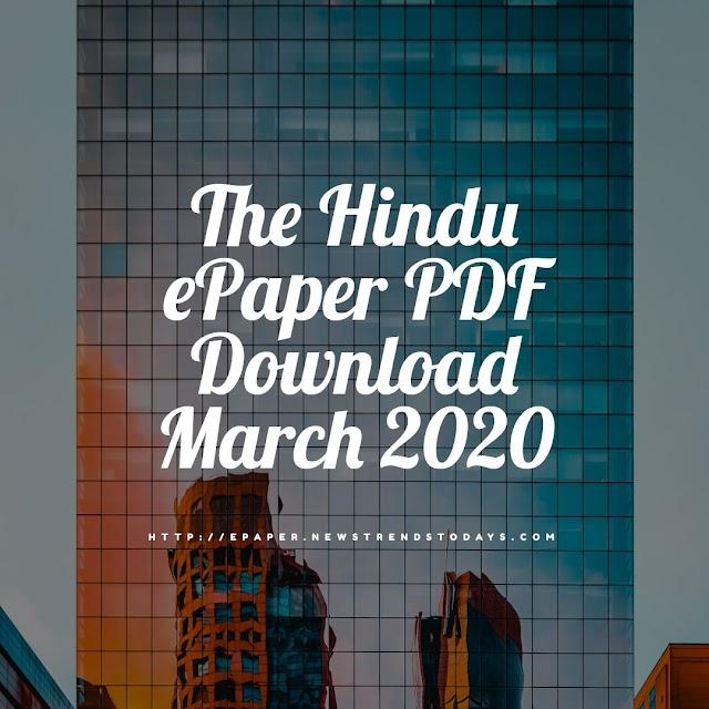 The Hindu ePaper PDF Download March 2020
