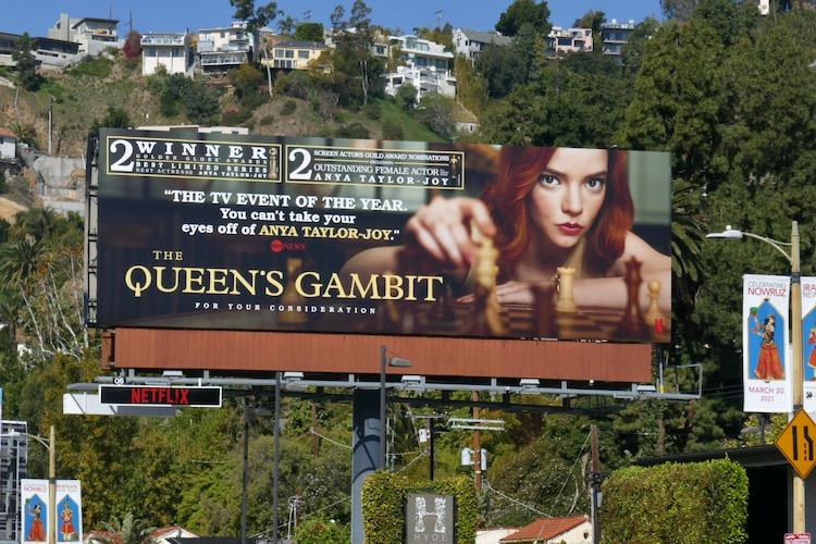 Queens Gambit Golden Globe winner billboard