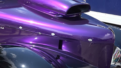 Willys resto-mod hot rod with purple blower scoop on hood