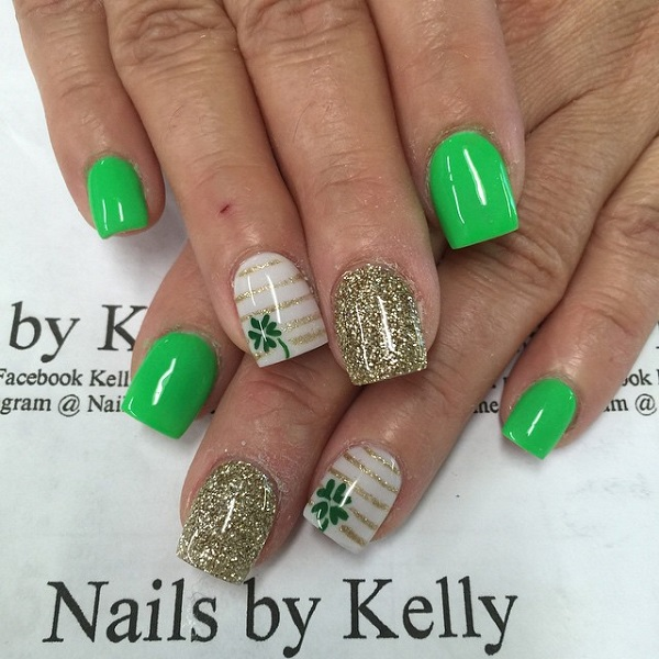 Easy Four-Leaf Clover Nail Design - Fashion Hippoo