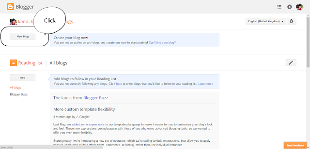 Blogger creation in Gmail