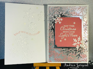 Stampin Up, Andrea Sargent, Christmas, 2019, Just Add Ink Challenge, Feels Like Frost, Frosted Foliage, Trifold card, Shaker card, Frosted Frames
