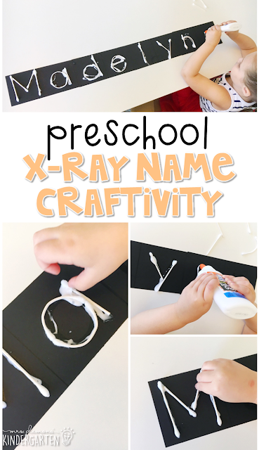 This x-ray name craftivity is fun for name and fine motor practice with a human body theme. Great for tot school, preschool, or even kindergarten!
