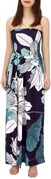 Floral Strapless Maxi Dresses for Women