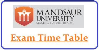 Mandsaur University Exam Date Sheet 2021