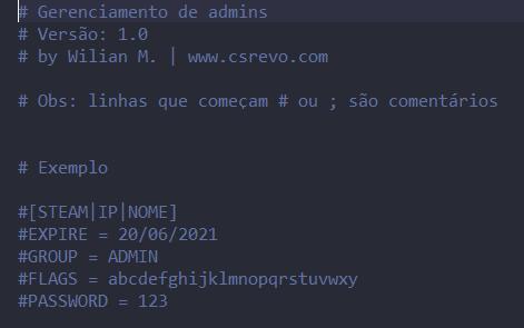 Plugin – Admins Manager (Gerenciamento de Admins)
