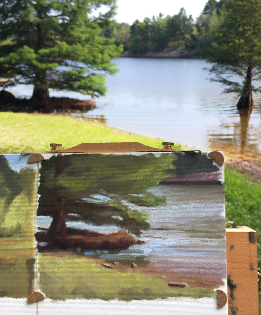 landscape study - plein air at Falls Lake Jul 21 2019