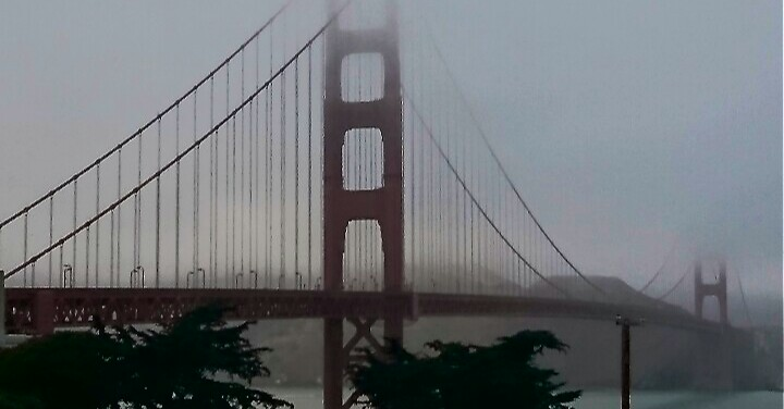 Foggy picture San Francisco Golden Gate Bridge