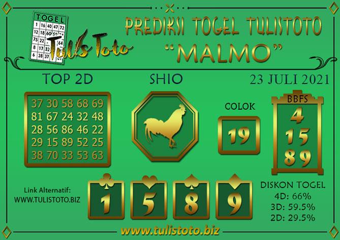 Prediksi Togel MALMO TULISTOTO 23 JULI 2021