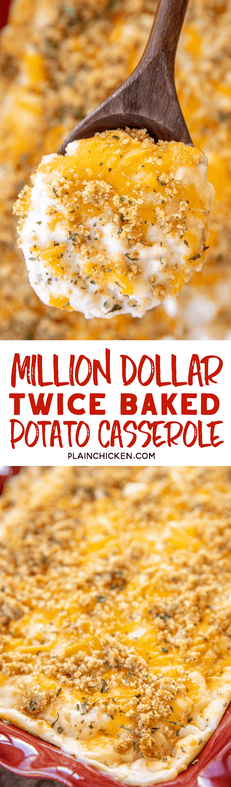 Million Dollar Twice Baked Potato Casserole - the BEST potato casserole EVER!!! Loaded with tons of yummy cheese! Mashed potatoes, cream cheese, cottage cheese, sour cream, cheddar cheese, onion, garlic, butter, and Italian bread crumbs. SO easy!!! Can make in advance and refrigerate or freeze for later. The most requested potato recipe in our house! YUM! #potatocasserole #recipe #easyrecipe #sidedish #freezermeal