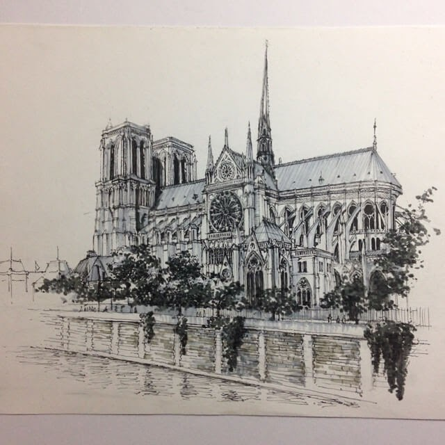 12-Paris-Notre-Dame-HAO-Sketches-Fineliners-Urban-Architectural-www-designstack-co