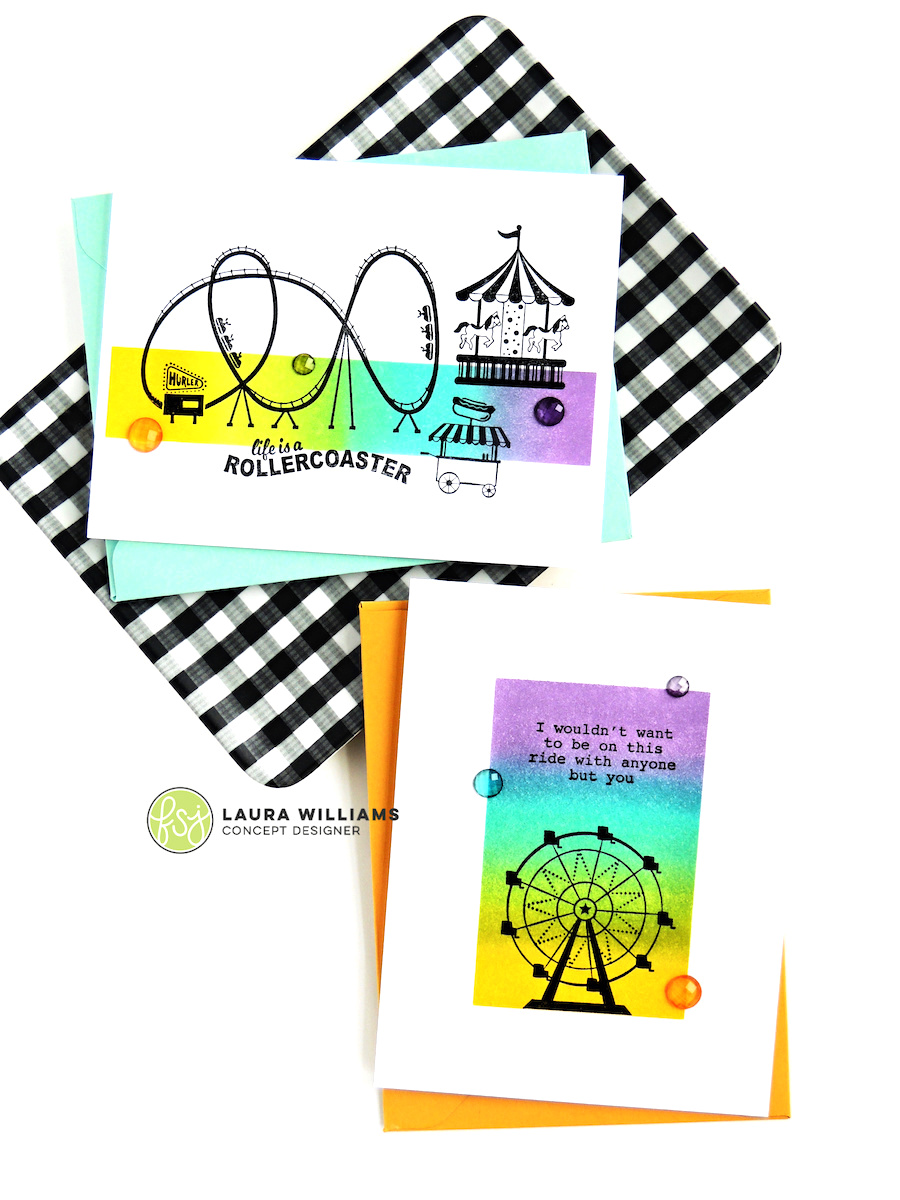 Click to learn how to make an inky ombre background for solid stamped images. Find two different ideas for this fun technique plus see ideas using the Enjoy the Ride stamp set from Fun Stampers Journey + Spellbinders #funstampersjourney #cardmaking #stamping
