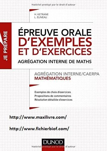 Épreuve orale d'exemples et d'exercices - Agrégation interne de mathématiques