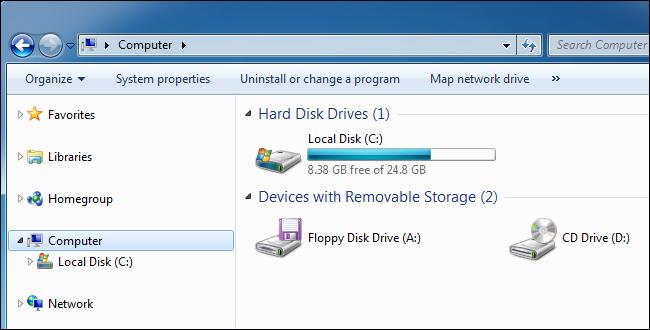 جزء الكمبيوتر الخاص بنظام التشغيل Windows 7 يعرض قرصًا محليًا.