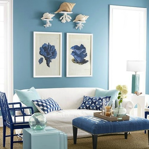 Blue Painted Interior Wall Ideas Living Room