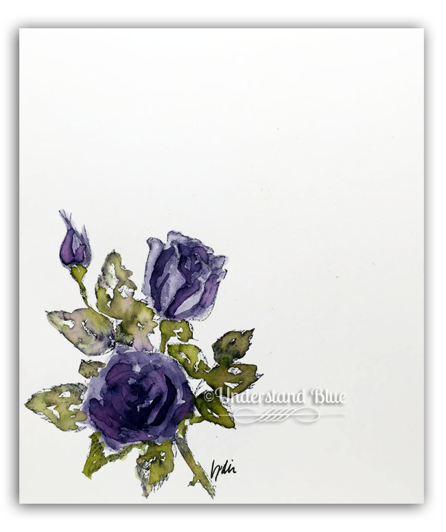 Stipple Rose watercolor by understandblue