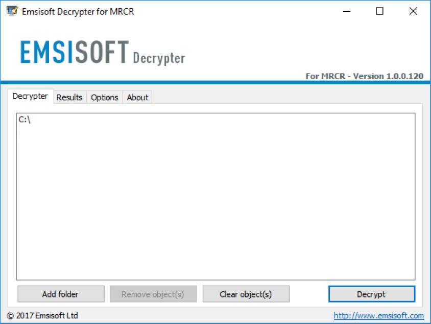 Emsisoft Decrypter for MRCR, Decrypt