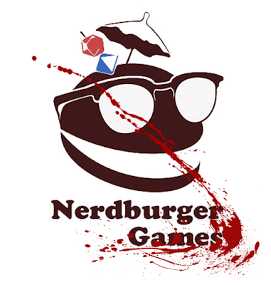 "The Nerdberger games logo with a hamburger with sunglasses and a cocktail umbrella, a d20, and a d8 stuck in it, with a splash of red ""blood"" over it and the text ""Nerdburger Games"""