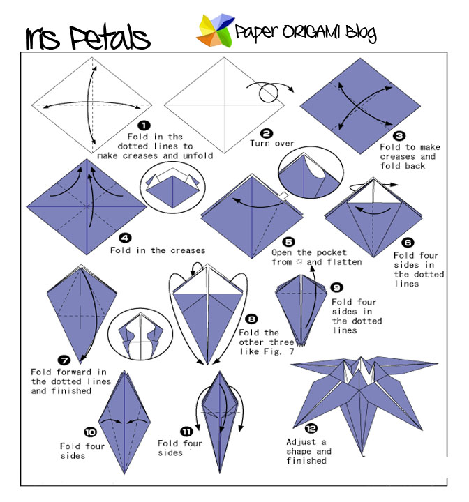 Flowers Origami: Iris Flowers | Paper Origami Guide - photo#16