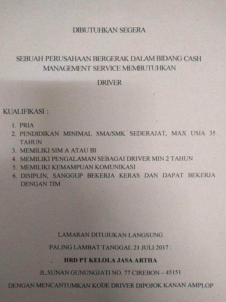 Lowongan kerja Driver PT Kelola Artha Jasa Cirebon