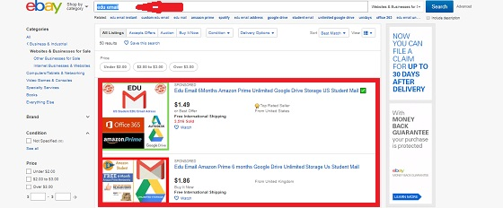 edu email ebay البريد التعليمي اباي