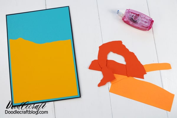 Then, add strips of light orange to the landscape using the Power Mini Glue Tape.